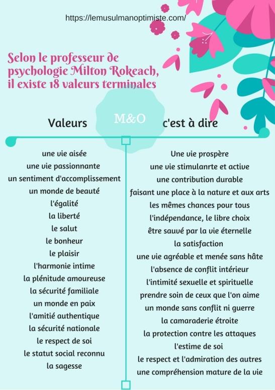 Selon le professeur de psychologie Milton Rokeach, il existe 18 valeurs terminales.jpg